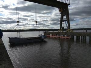 Судно на подводных крыльях спустили на воду в Нижнем Новгороде